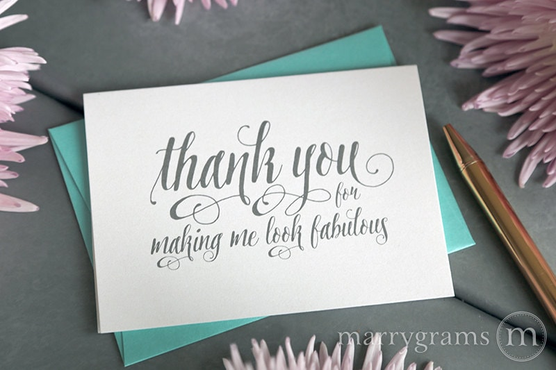 Wedding Card to Your Stylist Hair Makeup Artist Thank You