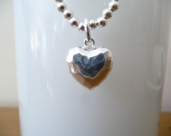 GORGEOUS 925 Puffed Hammered Heart Charm on a Sterling Silver Bead Bracelet.