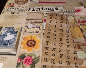 Vintage Collage Combo Scrapbook Album Combo Pack