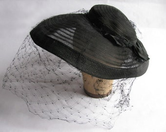 Sheer Black and Straw hat with netting