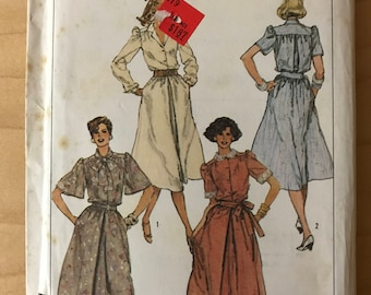 Simplicity 6841 - 1980s Button Front Dress with Flared Skirt with Front Pleat, Short Bell, or Long Gathered Sleeves - Size 12 14 16
