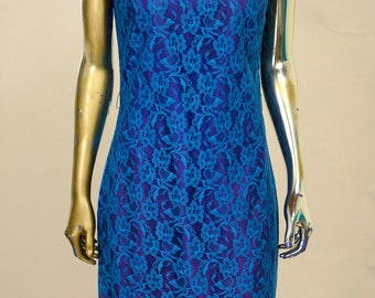 1960's Cobalt Blue Dress with Blue Lace Overlay