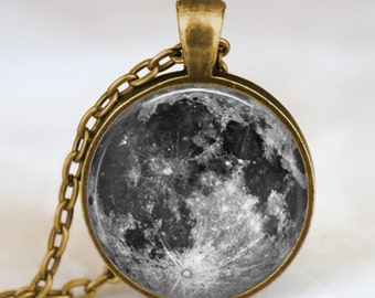 Full Moon necklace  Full Moon Jewelry  Lunar space antique bronze  necklace glass dome pendant necklace with gift bag