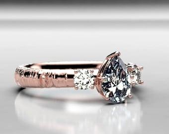 Rose Gold Pear Shaped Forever One Moissanite Engagement Ring,  Moissanite Diamond Alternative Wedding and Engagement Ring, Size 5 Ring
