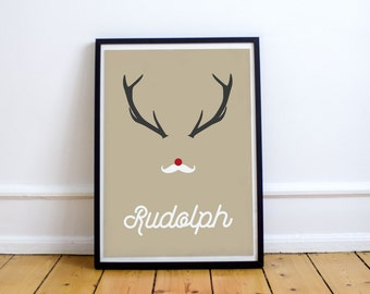 Minimalist Poster Santa Hipster Reindeer Rudolph - Wall Decor - Home Decor