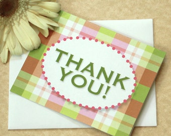 Pink Plaid Thank You Notes, Thank You Card, Preppy Plaid, Set of 10