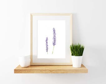 Lavender Watercolor Print. Home Decor. Lavender Print.