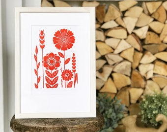Polanka-Original linocut print. Hand printed wall art with red flowers, limited edition signed linoprint, handmade folk motif poster.