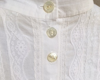 Victorian Style White Blouse With Lace Trim