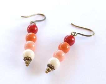 Swarovski Crystal Pearls in Coral, Peach & Red Wire Wrapped Brass Bronze Dangle Earrings