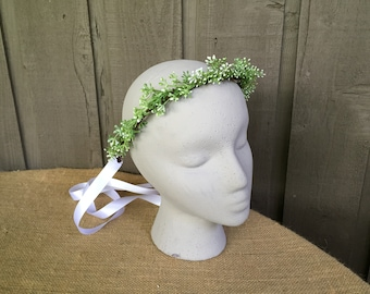 Wedding crown\ faux baby's breath crown/ bridal crown/greenery crown/bridesmaids crown/ flower girl crown/ unique crown/ baby shower crown