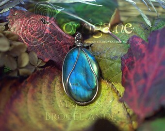 Entrelacs pendant Labradorite - Wire Wrapping - Copper Wire Wrapping Gemstone