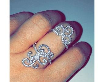 Henna Sterling Silver, Full Finger Statement Knuckle Ring