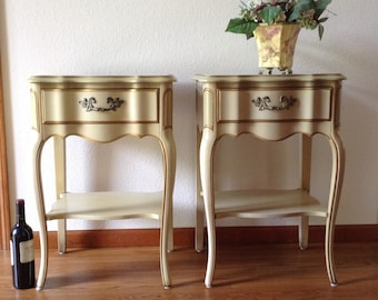 Vintage Night Stands, Set of Two French Provincial Nightstand, Side Tables, End Tables