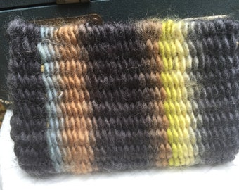 Multi-colored handwoven clutch, wallet, change purse, coin bag