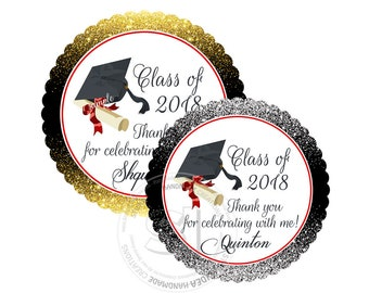 "Custom Graduation Printable Tag- 2.5"" Printable Thank you Tags-Gold or Silver background -Class of 2018 Graduation Scallop Tags-Digital file"