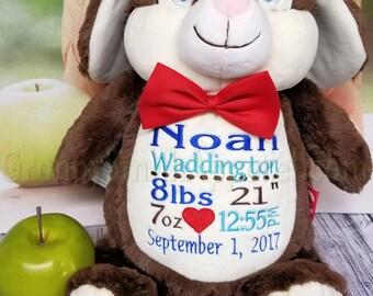 "CHOCOLATE Bunny Rabbit furry rabbit 12"" embroidered plush plushie stuffed animal stuffie. Christmas. Baby, birthday, shower, flower girl,"