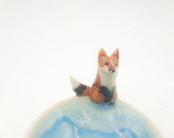 sitting fox bowl - Seattle turquoise standard  - trinket bowl porcelain original