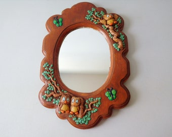 Vintage 1970s wall mirror Chalkware owl wall mirror Rockwood wall mirror