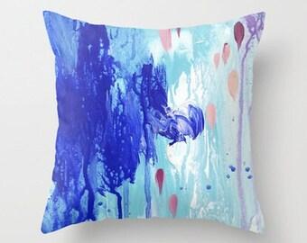 Callais - abstract art Throw Pillow case / decorative cushion cover. Cobalt blue, ultramarine. Aqua, coral