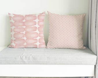 Blush Pink Pillow, Cushion, Blush pink decorative pillow cover, light pink cushion cover, throw pillow cover, euro sham, zipper