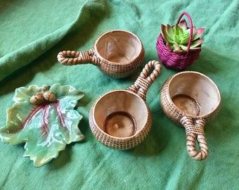 Ceramic Nautical Cups - Vintage Soup Bowls -Burlap Bean Soup Serving Cups -
