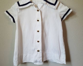 Vintage Girls Nautical Dress in White with Navy Ttrimmed Sailor Collar by C.I. Castro- Size 1t (12 months) - New, never worn