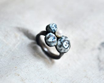 Large Barnacle and Pearl Ring