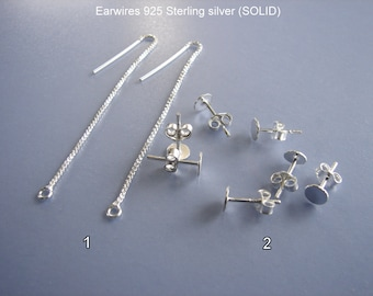 925 Sterling Silver Earwire findings, Earwire components, Thread  Earwires, Earring Stud with a Flat Pad  Sold by pair.