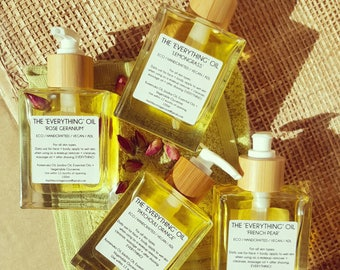 The Everything Oil - Rose Geranium,  Lemongrass, Patchouli Orange, French pear + Unscented    100ml