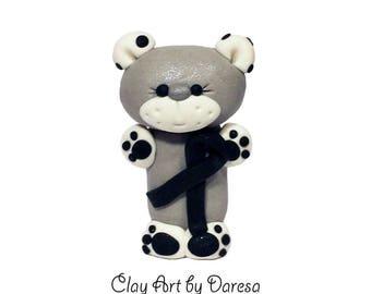 Melanoma Aware Bear - polymer clay figurine