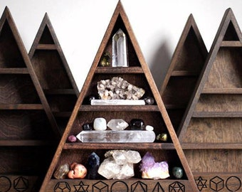 The Original Sacred Geometry Triangle Shelf for Crystal Display