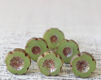 Hawaiian Glass Flower Beads For Jewelry Making Supplies - 14mm Pansy Flower - Opaque Sage Green  (10 or 4 beads)