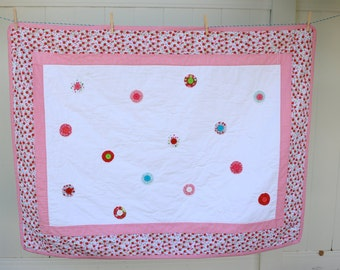 Hand Quilted, Hand Appliqued, and Button Yo-Yos Baby Quilt