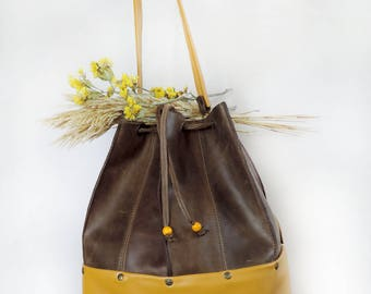 Brown Leather bucket bag womens shoulder bag leather handmade handbag cross body drawstring bag distressed leather leather pouch bag