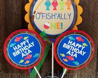 3 piece centerpiece set, Gone Fishing centerpiece, O'fish'ally one Centerpiece Set, Birthday Centerpiece, Baby Shower Centerpiece, fishing