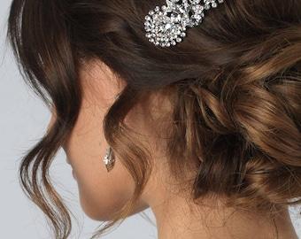 Rhinestone Wedding Hair Comb, Silver Bridal Hair Comb, Wedding Accessory, Vintage Hair Comb, Rhinestone Bridal Headpiece ~TC-2235