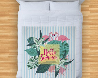Hello Summer Flamingo Blue Stripes Design Soft Fleece Blanket Cover Throw Over Sofa Bed Blanket