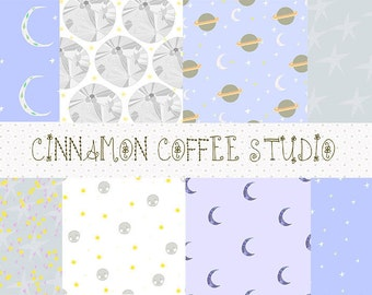 Space Digital Papers, Moon and Stars Backgrounds, Space Texture, Starry Night Digital Papers set of 8