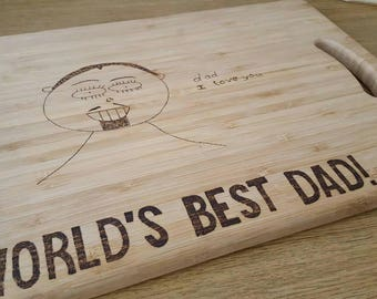 FATHER'S DAY, Father's day Gifts, Personalised Gifts, Gifts For Dad, Customised Gifts, Chopping Board, Keepsake Board, World's Best Dad!,