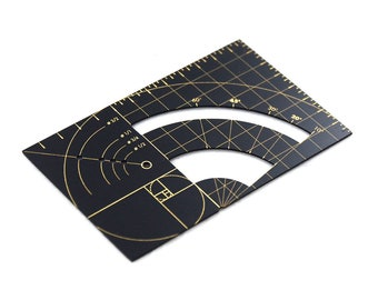 "Golden Ruler Designer Brass Wallet Fibonacci Sequence / Series Ratio Multi Tool Essential Metal Card 3.25""x2"""