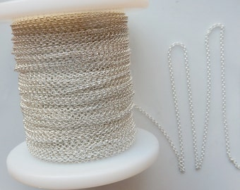 Sterling silver rolo link chain, .925 sterling silver. (1.2mm)