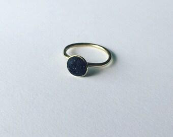 Handmade contemporary Brass & Coal ring