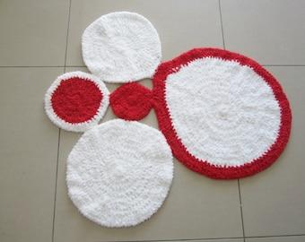 Baby's rug, nursery rug, balls yarn rug, crochet floor rug, white and red rug, baby floor bedroom rug, crochet wool rug, fluffy rug, crochet
