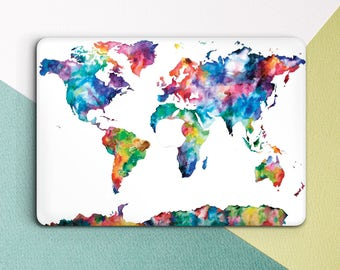 Watercolor world map etsy watercolor world map macbook case macbook air 11 case macbook air 13 case world map macbook gumiabroncs Gallery