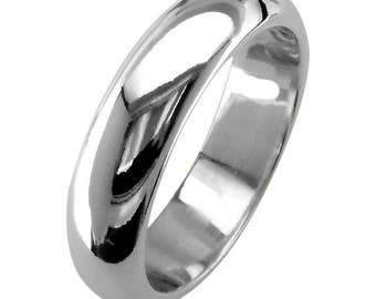 Mens Classic Plain Domed Wedding Band, 5mm Wide in Sterling Silver