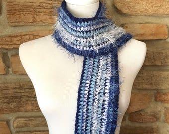 Blue and white scarf, crochet scarf, fashion scarf, blue scarf, womens scarf, navy scarf