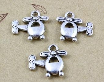 50Pcs Antique Silver copter Charm copter Pendant airplane charm 15x13mm  (PND372)