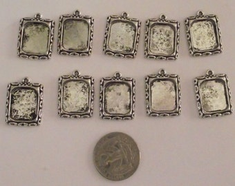 Set of 10 Silver tone  frames for jewelry