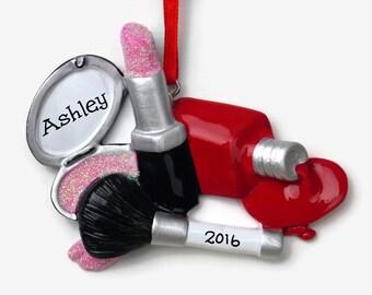 Makeup Personalized Ornament - Nail Polish - Lipstick - Blush - Hand Personalized Christmas Ornament